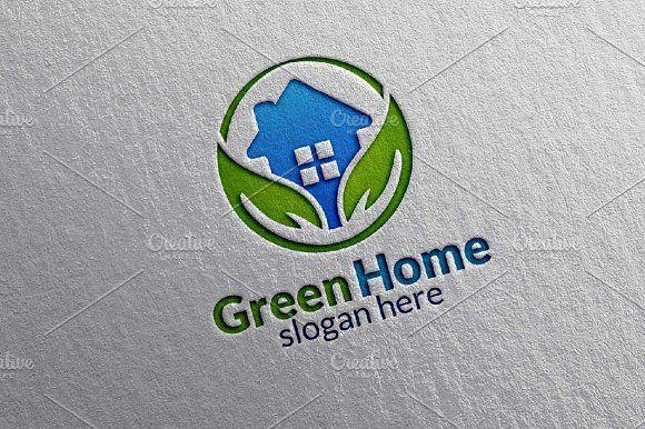 Green Home, Real estate Logo by denayunebgt on @creativemarket