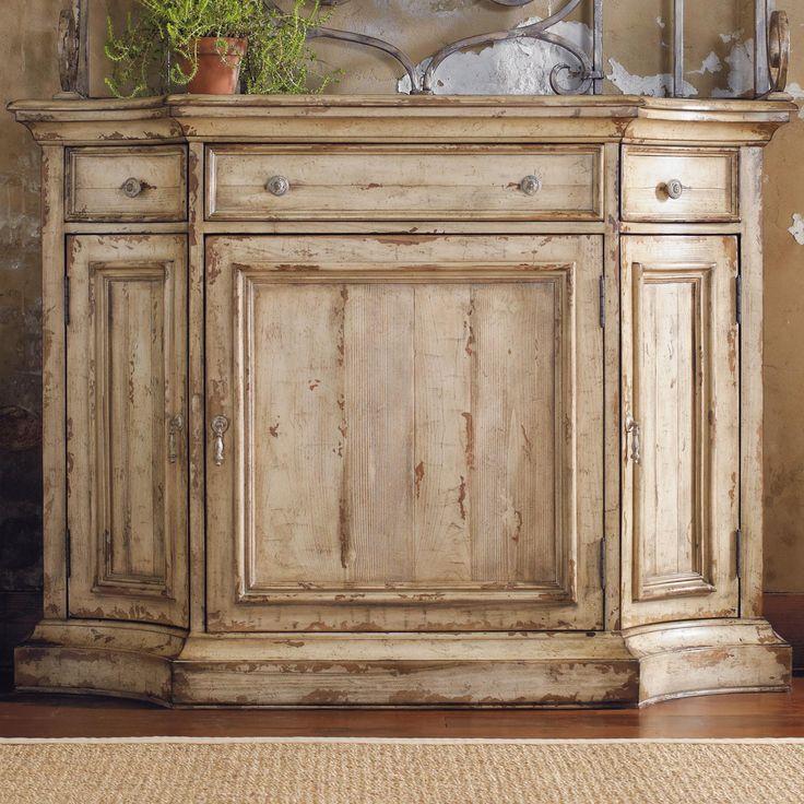 Distressed Kitchen Cabinet Doors: Three-Door Three-Drawer Distressed Two-Tone Buffet Visalia