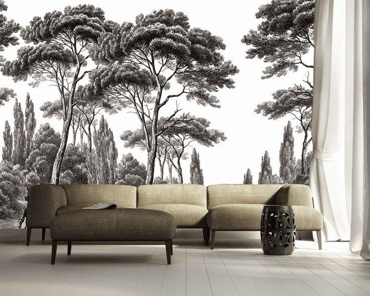 papier peint pins et cyprs noir et blanc ananb - Papier Peint Et Peinture Dans La Meme Piece
