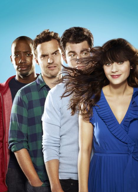 Pictured L-R: Lamorne Morris, Jake Johnson, Max Greenfield, Zooey Deschanel from NEW GIRL on FOX.
