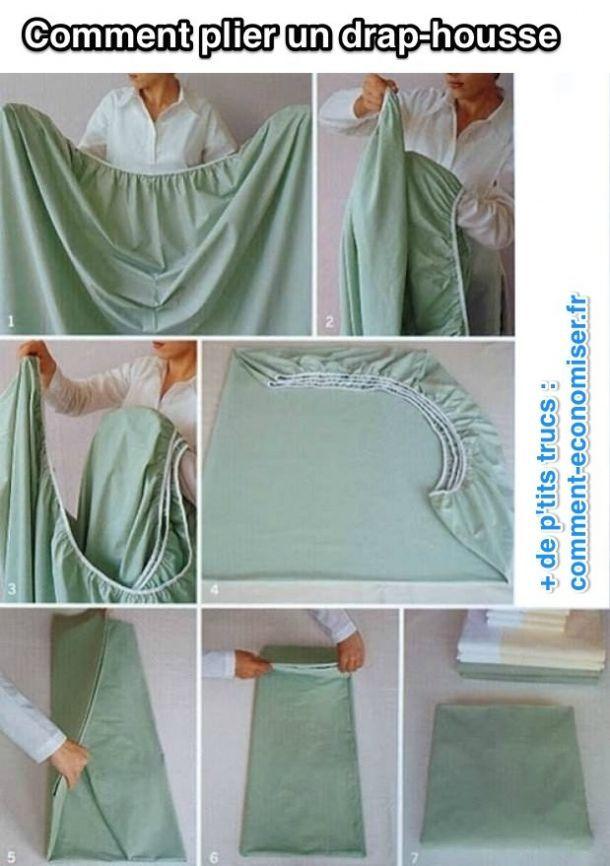 Saviez-vous qu'il est possible de plier un drap-housse en joli rectangle bien plat et facile à ranger comme un drap classique ? Voici comment gagner instantanément de la place dans votre placard.  Découvrez l'astuce ici : http://www.comment-economiser.fr/bien-plier-drap-housse.html