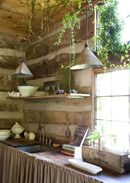 love this kitchen, check the vine out that actually grew through their roof!