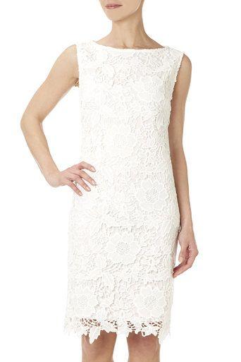 Ivory Floral Lace Shift Dress