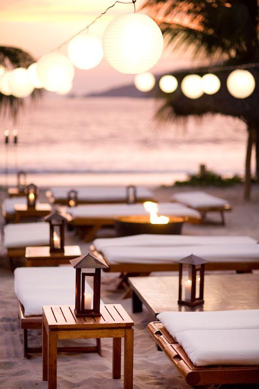 style me pretty - real wedding - mexico - mexico beach wedding - reception decor - lounge area - paper lanterns