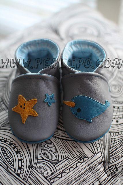 Chaussons en cuir souple pour bébé