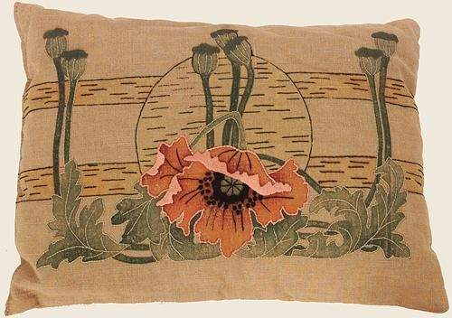 Painted and embroidered poppies, excellent condition. Sold for $1,100.