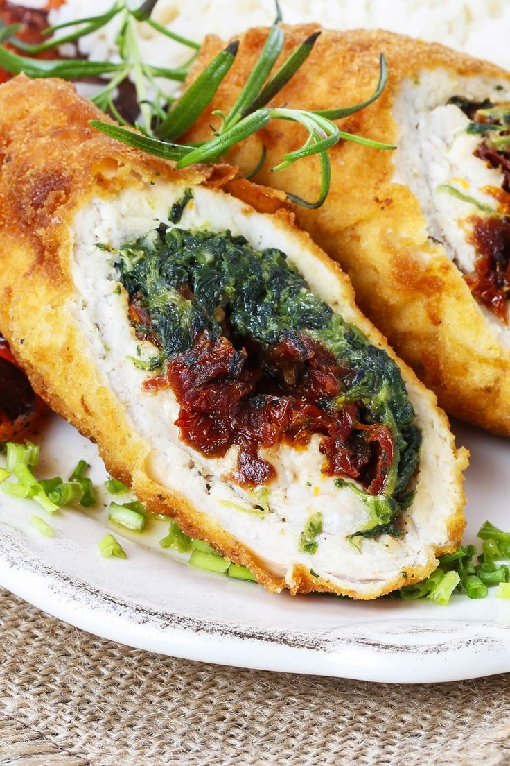Feta, Spinach & Sun-Dried Tomato Stuffed Chicken Breasts