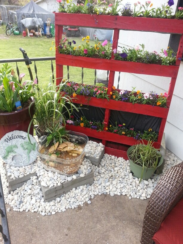 Small patio flower garden patio pond pallet gardening for Pond made from pallets
