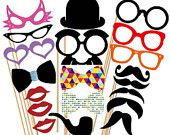 Circus Clown Photo Booth Props - 18 Piece Photobooth Party Set - Carival - Birthday - Weddings. $21.00, via Etsy.