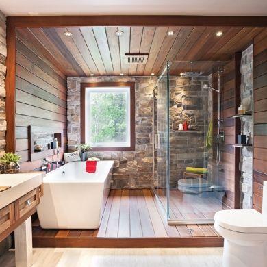 Salle de bain rustique tout de pierre et de bois - Salle de bain - Inspirations - Décoration et rénovation - Pratico Pratiques