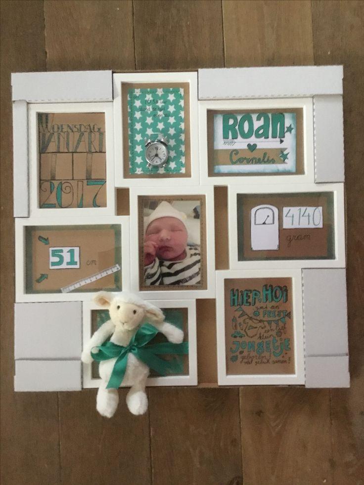 Kraamcadeau voor een jongen, in de kleuren van het geboortekaartje. Een IKEA fotolijst met 8 vakjes, gevuld met de naam, geboortedatum, geboortegewicht, lengte, babyfoto en knuffel.