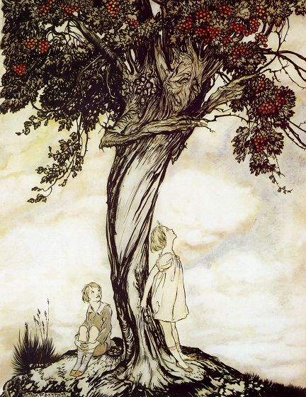 The Hawthorn Tree, 1922, Arthur Rackham. English Illustrator (1867-1939) A sacred tree of the fea
