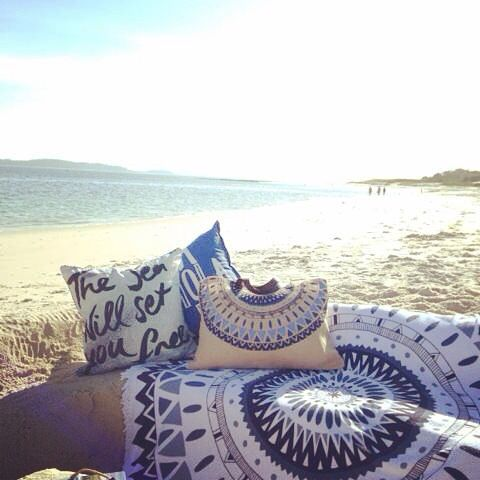 Summer love featuring the Majorelle Round Towel by The Round People and cushions by ourlieu. Available online and in store.