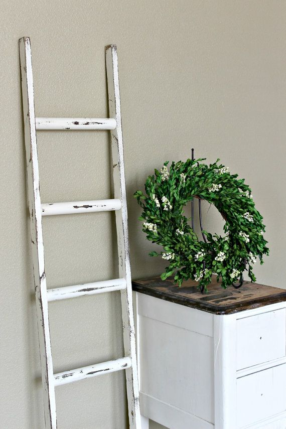 Ladder Vintage Rustic, Blanket Ladder, distressed pot rack, White Wood Furniture, 5', woodworking, step ladder, wood