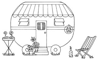 retro camper rubber stamp. Would be cute as an embroidery pattern. I like the smoke coming off the burgers. So fun and summery.