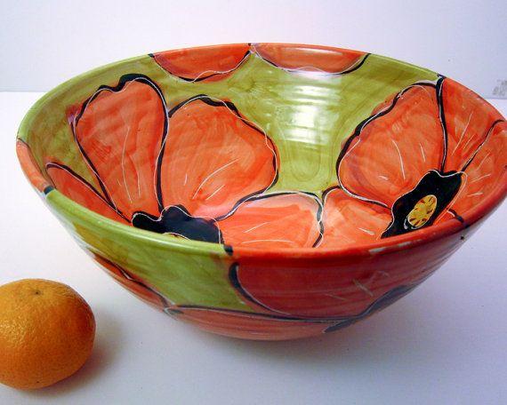 Mayólica grande hecho a mano cerámica servir cuenco barro
