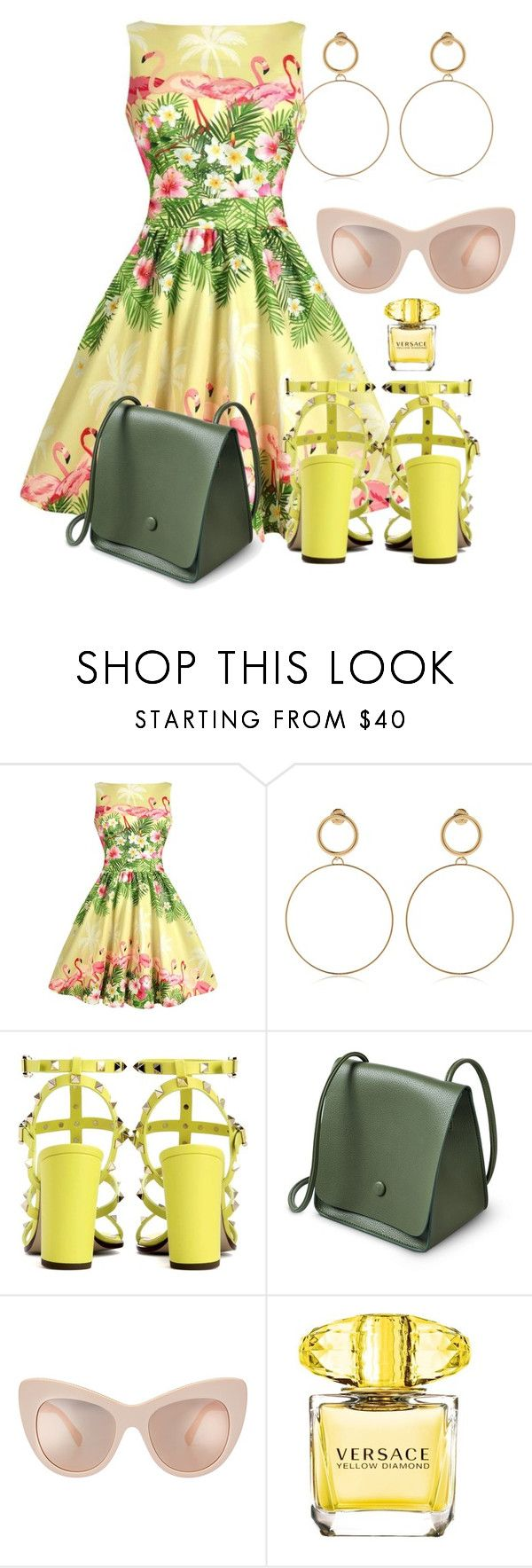 """She's in Barcelona"" by didiiidia on Polyvore featuring Flamant, Maria Francesca Pepe, Valentino and Versace"