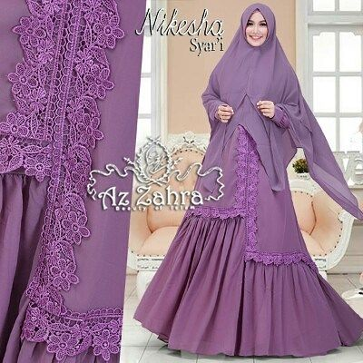 Nikesha Syari by Azzahra  Set gamis syari bahan ceruti ultimate.  Dress lapisan furing kaos hadget  Uk all size fit to XL resleting depan (busui) karet pinggang belakang aplikasi renda prada rempel di bagian rok bawah.  PB140cm LD100cm.  Kerudung khimar 2lapisan.  Retail 415.000 Resel 395.000 Ready 24 feb  Dp 50% = Booking  Line @kni7746k Wa 62896 7813 6777  #pin #gamissyaribahancrepe #distributorgamissyaripremiummurah #distributorbajumuslimsyari #gamissetkhimarpolos…