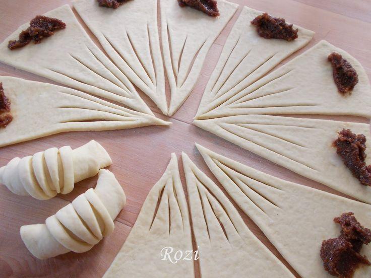 A tésztája az Egyszerű kelt tészta A megkelt tésztát kerek, tányér nagyságúra kinyújtjuk, 12 részre vágjuk és a hegyes részénél hár...