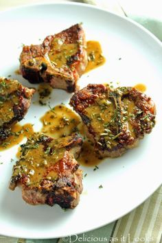 Seared Lamb Chops with Dijon-Herb Pan Sauce / Delicious as it Looks