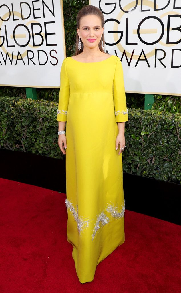 Natalie Portman from Worst Dressed at Golden Globes 2017  With almost two decades of stunning looks on the red carpet, Natalie Portman left us stunned when she arrived in a canary yellow gown. Although we like the color, we know that this style icon can do so much with her maternity style.