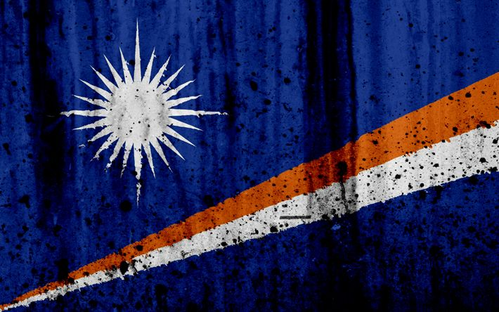 Download wallpapers Marshall Islands flag, 4k, grunge, flag of Marshall Islands, Oceania, Marshall Islands, national symbols, Marshall Islands national flag
