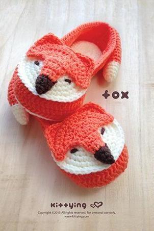 Crochet Pattern Fox Women House Slipper Crochet Pattern - Women's sizes 5 6 7 8 9 10 - Chart & Written Pattern by kittying