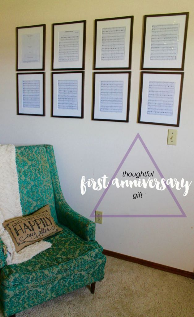 LOVE this idea! Buy sheet music for a special song and frame it for your 1 year 'paper' anniversary!