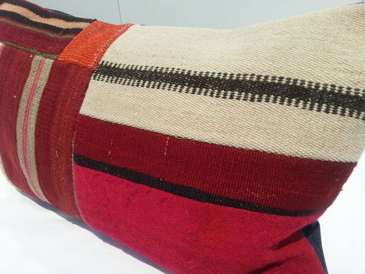 Red Handmade Kilim Lumbar Pillow, 16x24, Accent Pillow,Colorful Pillow Lumbar, Handmade Decoration Turkish Kilim color Cushion Cover Pillow by Simavrug on Etsy