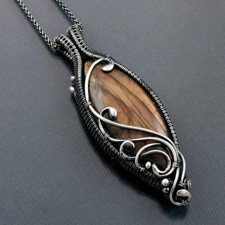 Labradorite Necklace, Fine Silver Necklace - Double Sided Pendant - Maria.