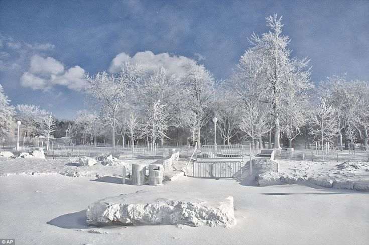 They also show frozen mist coating the landscape around Prospect Point at Niagara Falls State Park