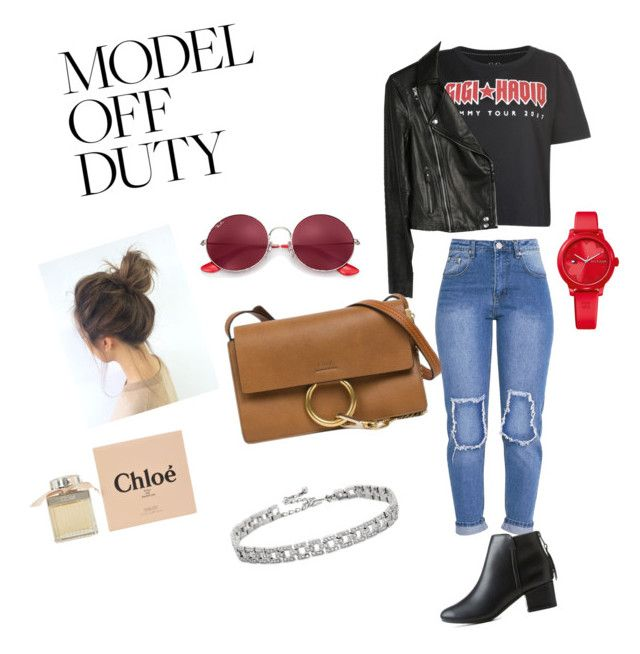"""""""Model off duty"""" by milia-lonkausky ❤ liked on Polyvore featuring Tommy Hilfiger, Paige Denim, City Classified, Ray-Ban, Chloé and Kenneth Jay Lane"""