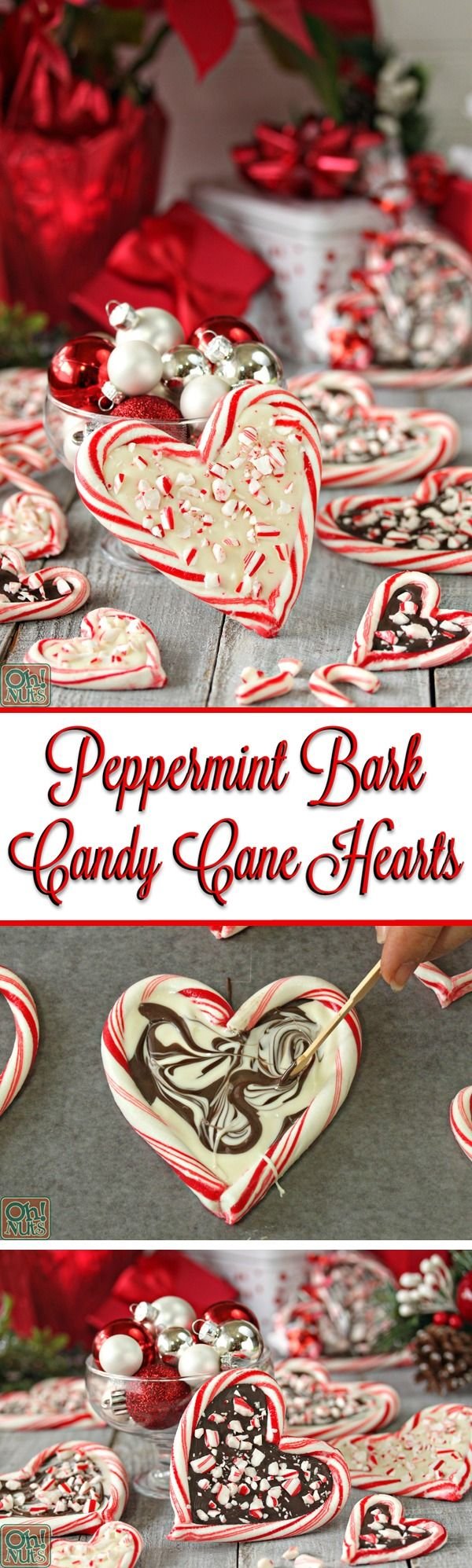 Peppermint Bark Candy Cane Hearts - such an easy and cute Christmas gift! | From OhNuts.com/blog