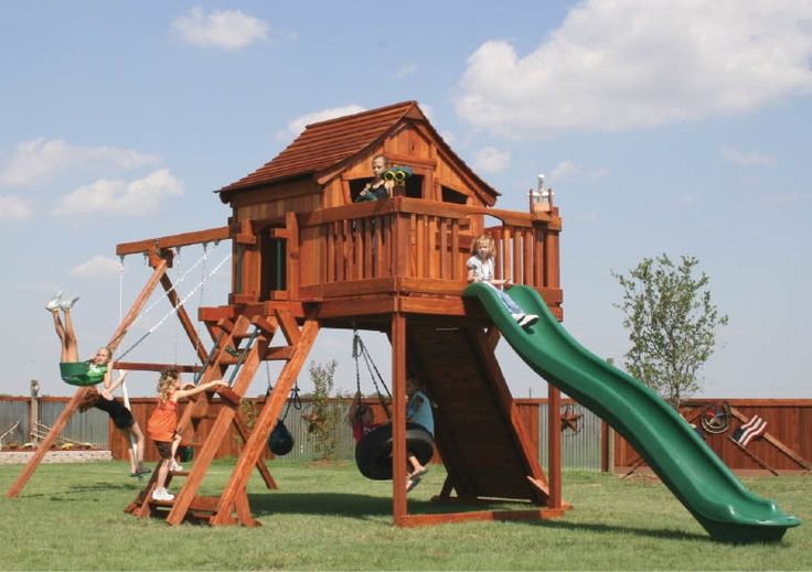 Fort Ranger playset with Upper Cabin, rock wall, Fun Deck, slide, tire swings, swings and deck ladder.   #swingset #playset #kids #outdoorplay #outdoors @mybackyardfun