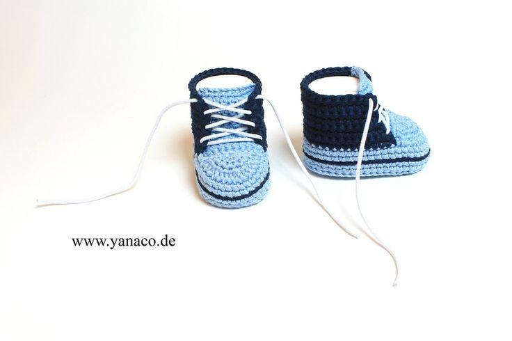 Babyschuhe+10,4cm++blau+Junge+von+Yanaco+-+Babyschuhe++auf+DaWanda.com