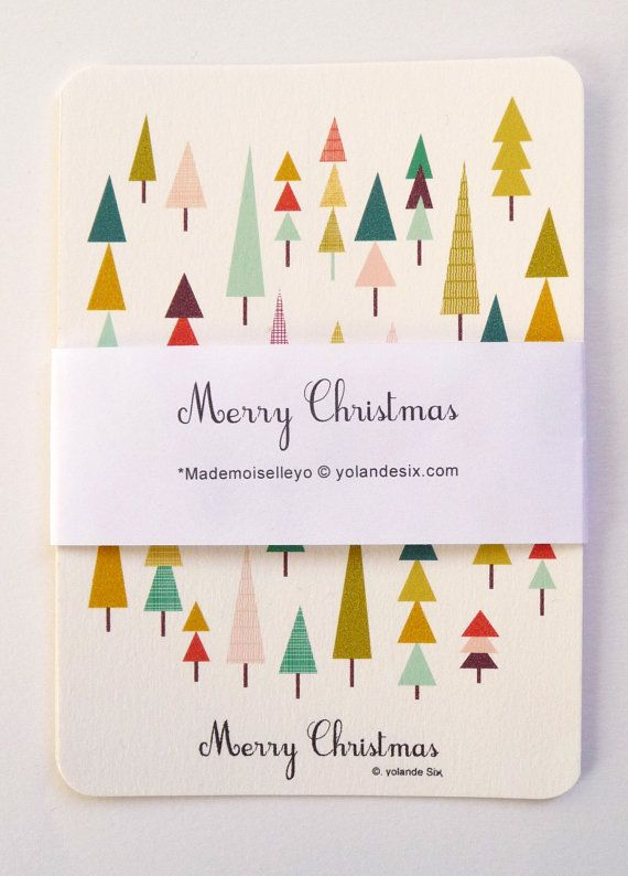 MERRY CHRISTMAS Cards Geometric and colors 4 x by mademoiselleyo