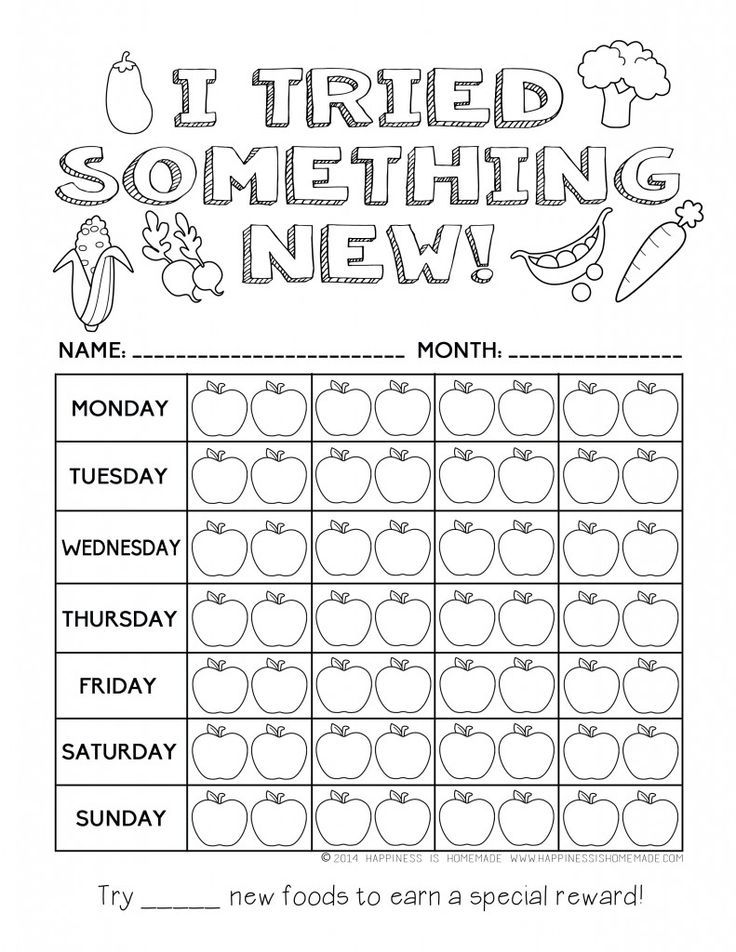 """I Tried Something New"" Healthy Eating Reward Chart for Kids"