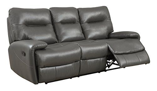 Furniture of America Harvey Transitional Sofa with 2 Recliners, Gray