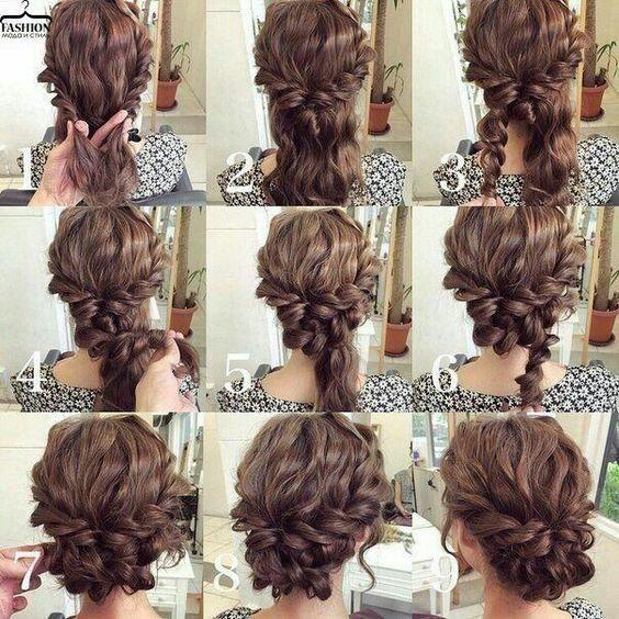 Easy updo for curly hair. Wedding hair. Prom hair.