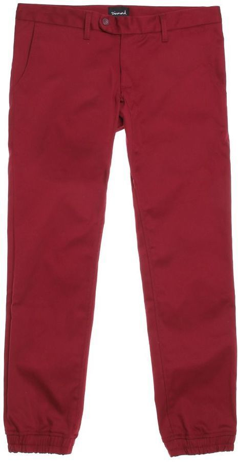 $70, Burgundy Chinos: Diamond Supply Co. Diamond Supply Co Mined Slim Jogger Pants. Sold by PacSun. Click for more info: https://lookastic.com/men/shop_items/296719/redirect