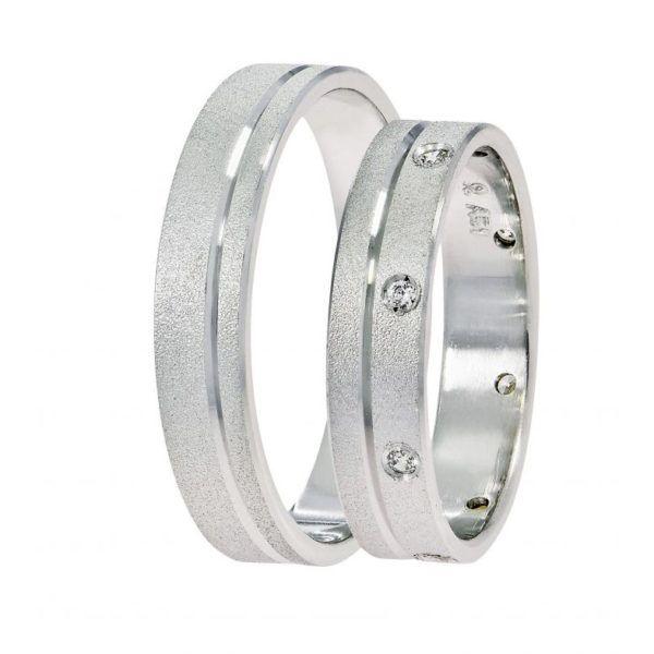 Βέρες γάμου Stergiadis λευκόχρυσο Κ14 SAT-5WW513