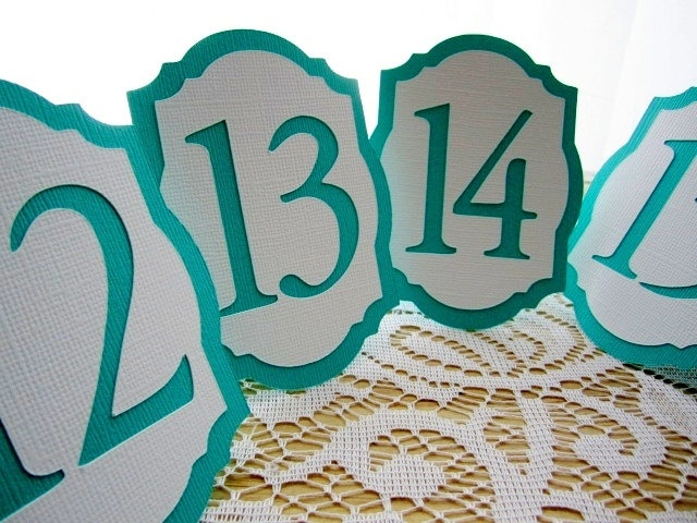Mini 4 Quot Freestanding Wedding Table Numbers In Teal And