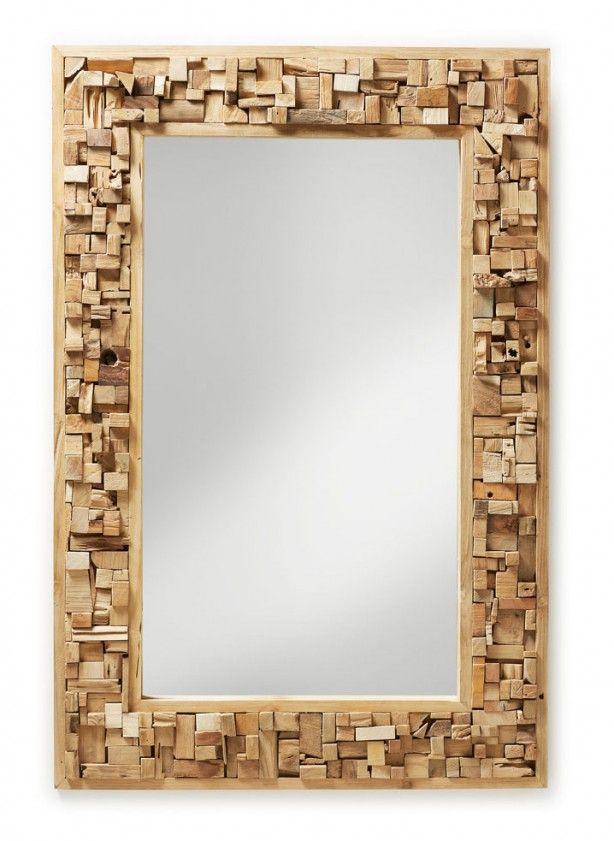 Spiegel met houten rand in mozaïekvorm - 120x80 cm