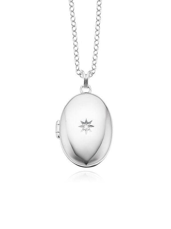 Hot Diamonds Diamond Locket Necklace Set In Sterling Silver Diamond Locket Hot Diamonds Locket Necklace
