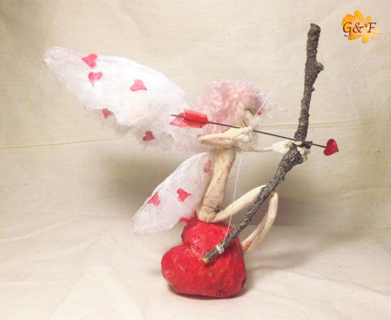 Cupido Fairy-Love Gift Idea for him/her stuffed friendly toy, handmade, hand sewn, puppet fabric, Sidhe fantasy figurines, toy, Spring Equinox: eaf