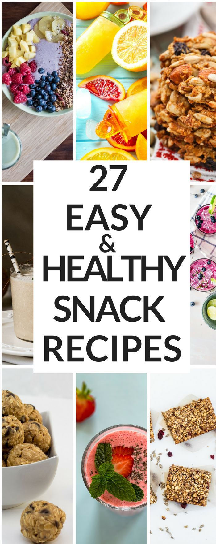 Looking for easy & healthy snack recipes? Whether you're searching for healthy snacks for weight loss or health snacks for kids on the go, this list of 27 recipes has you covered! From clean eating snacks & protein filled fat burning energy bites to gluten free muffins there's something for every diet in this collection of healthy snacks!