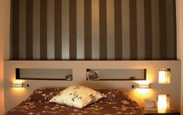 wand hinter bettkopfteil bett braun streifen idee | wall & blanket, Wohnzimmer design