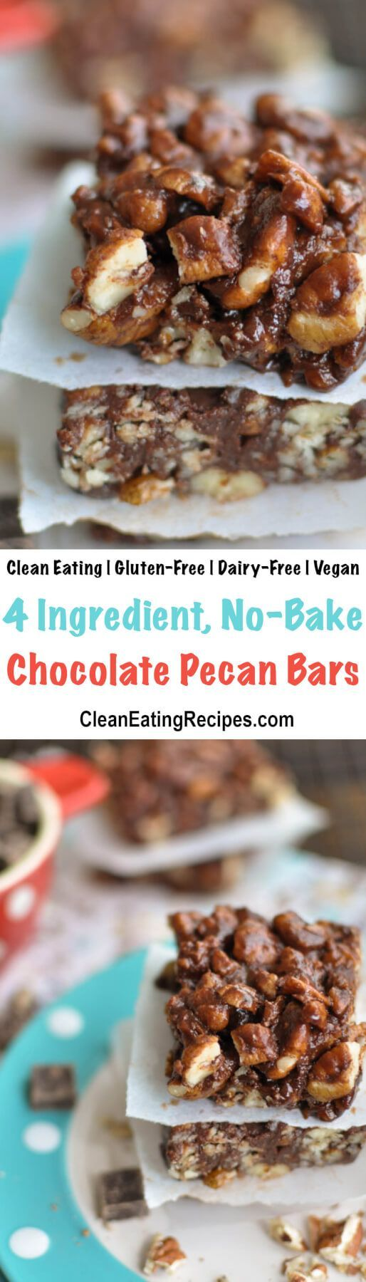 These dark chocolate pecan bars are a no-bake healthy indulgence that are super-simple to make with only 4 ingredients and they only take about 10 minutes to make from start to finish. {Clean Eating, Gluten-Free, Vegan, Dairy-Free} #cleaneating #glutenfree #vegan #dairyfree #chocolate #pecans #recipe