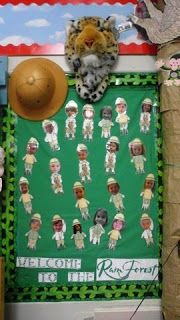 Jungle, rainforest, Safari Theme classroom. Students pictures are attached to safari outfits and hats!