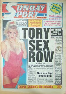 Zeta Ross on the front page of the Sunday Sport newspaper from 23-Dec-1986